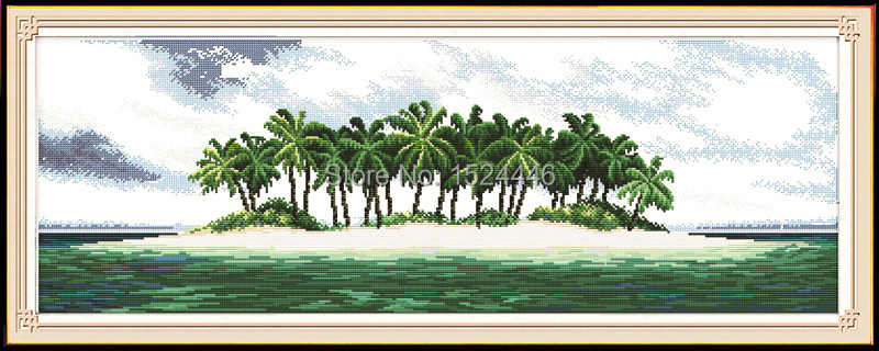 Coastal scenery seaside beach paintings Counted printed on fabric DMC 14CT 11CT DIY Cross Stitch Needlework kits Embroidery Sets