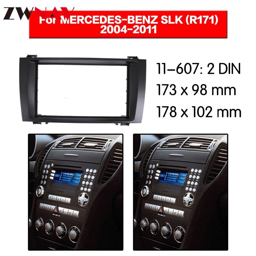 Cadre de lecteur DVD de voiture pour 2004-2011 BENZ SLK R171 2DIN Auto AC noir LHD RHD Auto Radio multimédia NAVI fascia