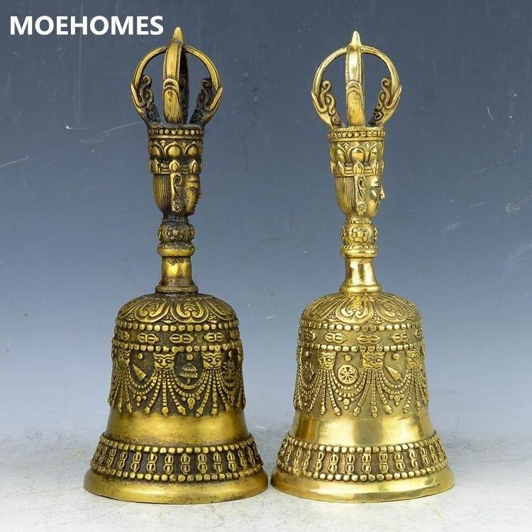 MOEHOMES 8 pouces/21 CM décor à la maison Feng Shui laiton main cloche/métal décoration artisanat bouddhisme tibétain chanceux Bell