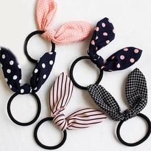Хит, кроличьи ушки, 1 шт., эластичная лента для волос, зажим для волос с бантиком, в клетку, в полоску, в горошек, бант, шпилька, резинка, аксессуары для волос