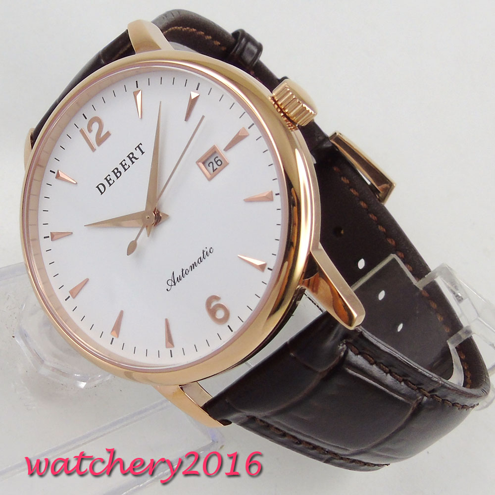 40mm Debert White Dial Date SS Golden Case 2017 Newest top brand Luxury Sapphire Crystal Miyota Automatic Mechanical Mens Watch цена и фото