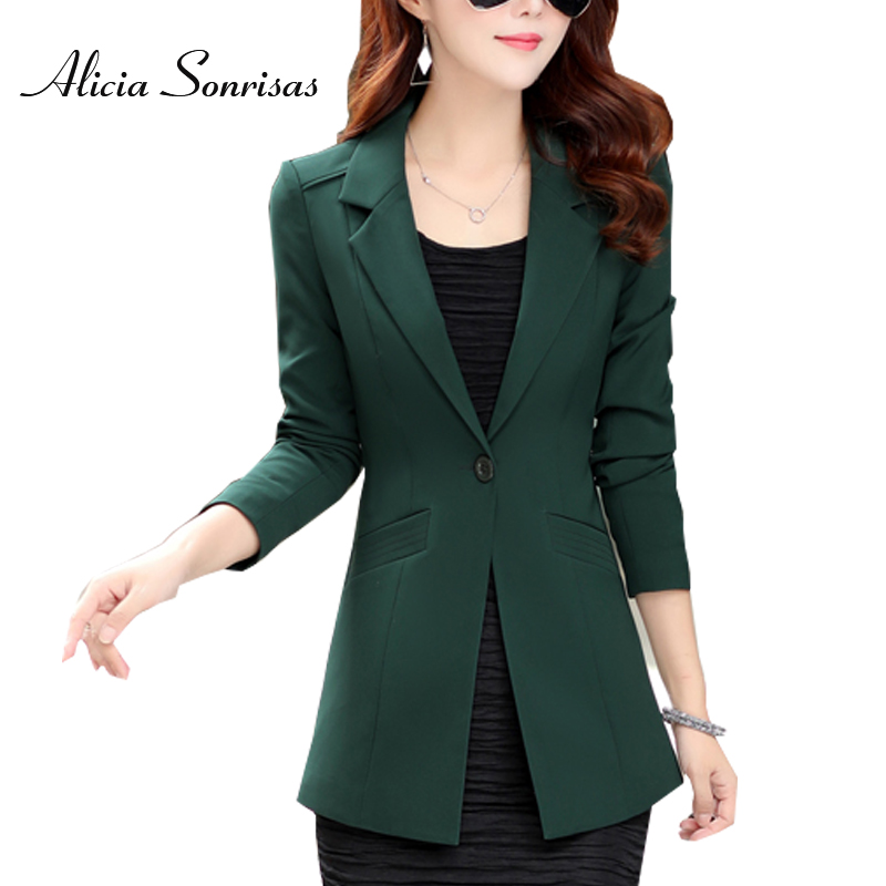 2018 Spring Summer Blazer Women New 4 Colors One Button Green Black White Jacket Womens Slim OL England Blazers Feminino