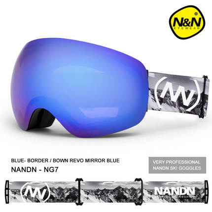 Brand NANDN Professional Ski Goggles 2 Double Lens Anti fog Big Spherical Skiing Glasses Men Women