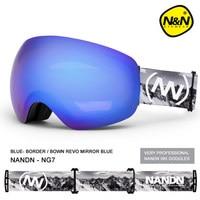Brand NANDN Professional Ski Goggles 2 Double Lens Anti fog Big Spherical Skiing Glasses Men Women Snow Goggles