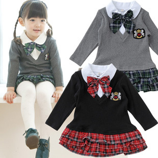2013 children's clothing spring and summer female child long-sleeve preppy style turn-down collar one-piece dress female skirt