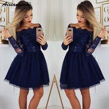 Элегантное темно-синее короткое платье для выпускного вечера Junior с длинными рукавами и открытыми плечами кружевное мини-платье с блестками