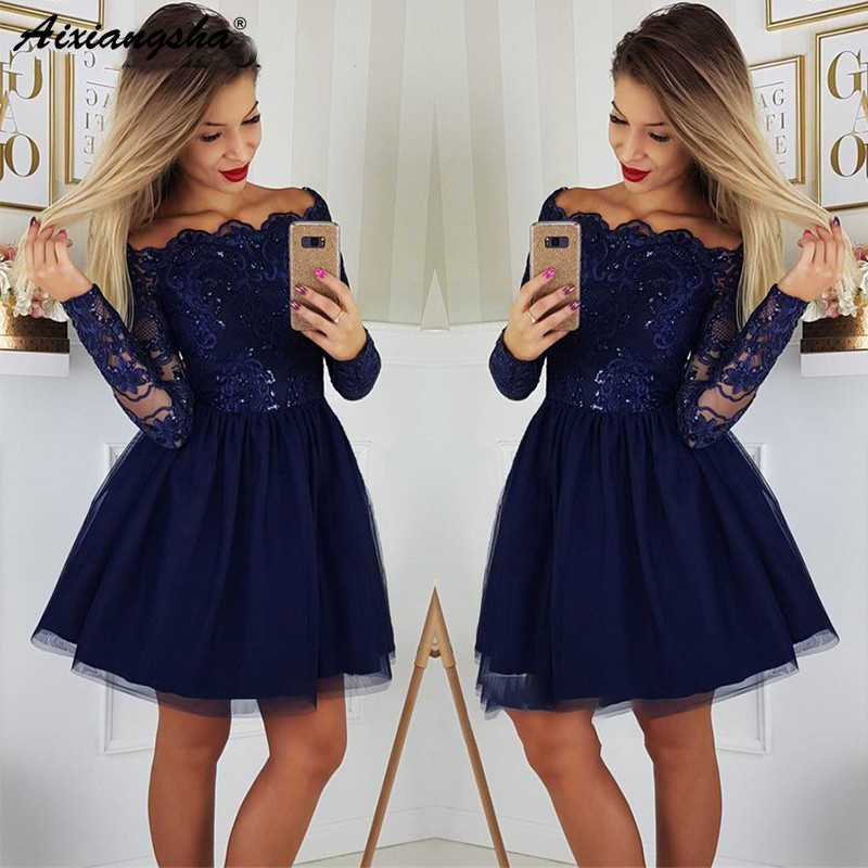 Elegante Navy Blue Corto Vestito Homecoming 2019 Junior Abiti A Maniche Lunghe Con Spalle In Pizzo Paillettes Mini Coacktail