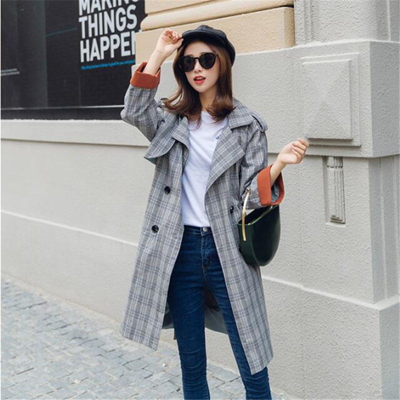 2017 New Autumn Loose Plaid Trench Coat Women Fashion Brand Slim Trench Female Windbreaker Vintage Casual Outwear A3959