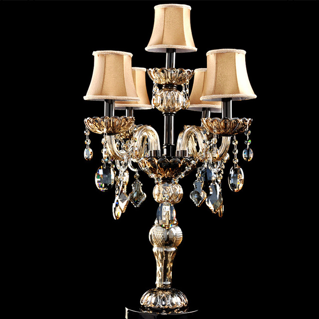 Italy Dining Room Led Table Lamp Modern Candle Holder Abajur Crystal Table  Light Wedding Candelabra Light