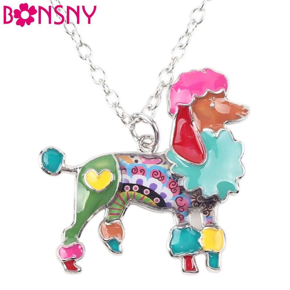 Bonsny модное ожерелье из эмалированного сплава с подвеской в виде Пуделя и собаки, колье с подвеской в виде милых животных, ювелирные изделия для женщин и девочек, аксессуары для любителей домашних животных