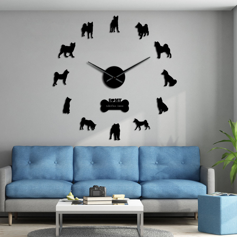 Japanese Shiba Inu Dog Decorative Modern Wall Clock Shiba Ken Dog Breed Frame Large Wall Clock With DIY Arylic Mirror Stickers