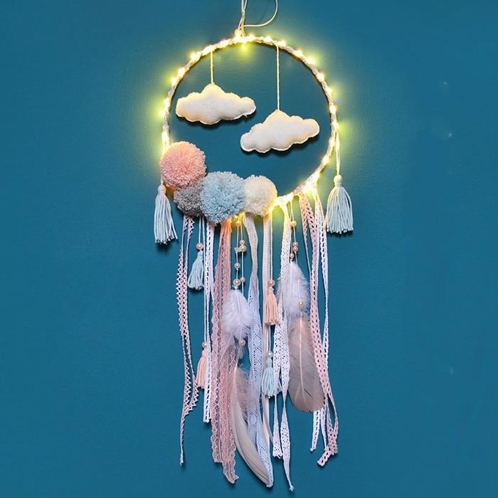 Фэнтези красочные ручной работы Ловец снов облако перо стене висит украшение орнамент с легким для девочек стене висят украшения