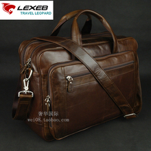 LEXEB Brand Coffee Men's Leather Briefcase 17″ Laptop Large Capacity Business Travel Bag 43 CM Length With Double Zippers Open