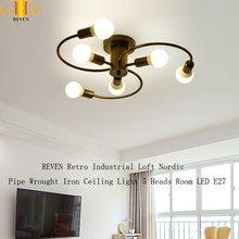 цена на REVEN Retro Industrial Loft Nordic Pipe Wrought Iron Ceiling Light 5 Heads Room LED E27