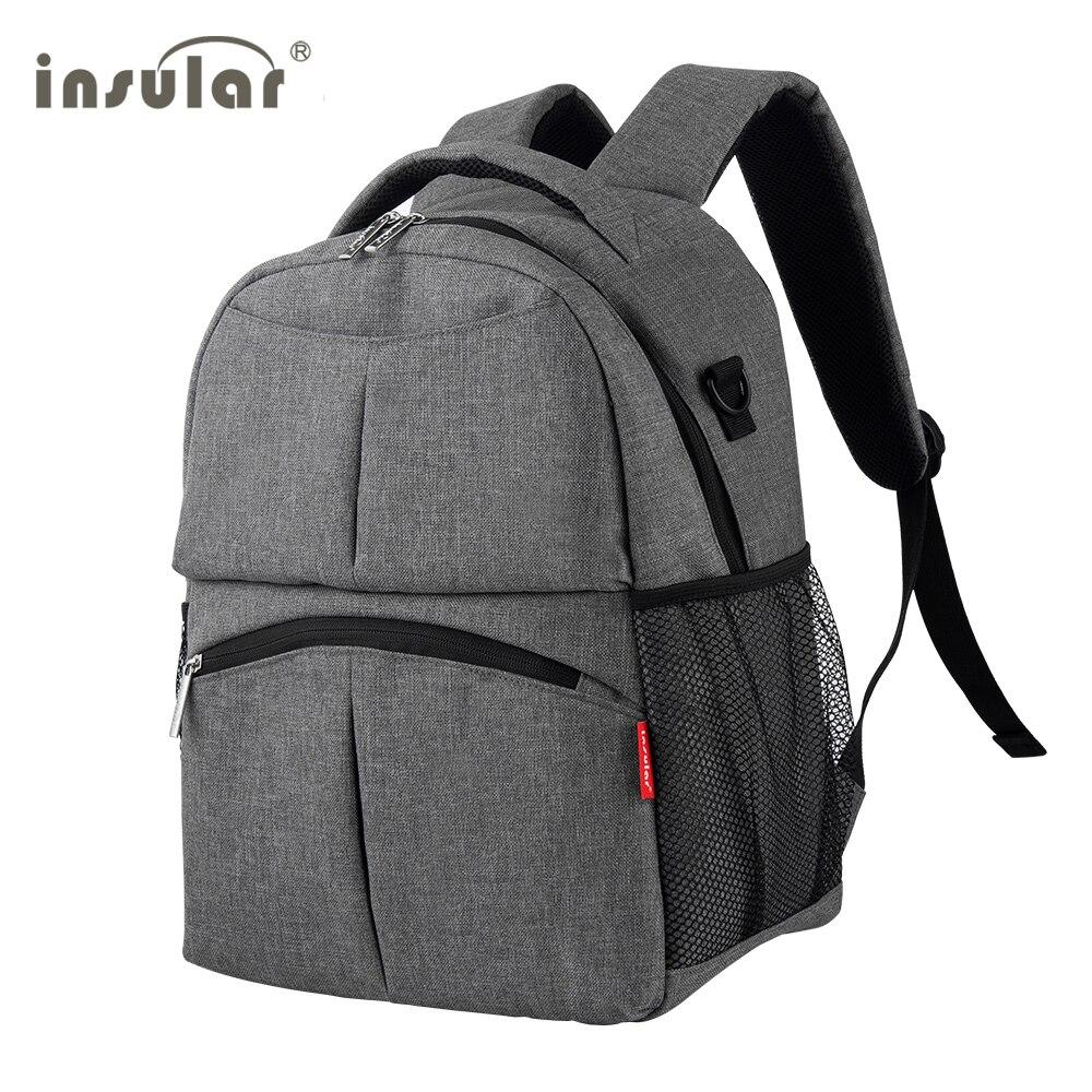 Bolsa pañales maternidad bolsa de alta calidad transpirable mamá mochila de viaje cuidado del bebé pañal bolso cochecito mochila gris/negro