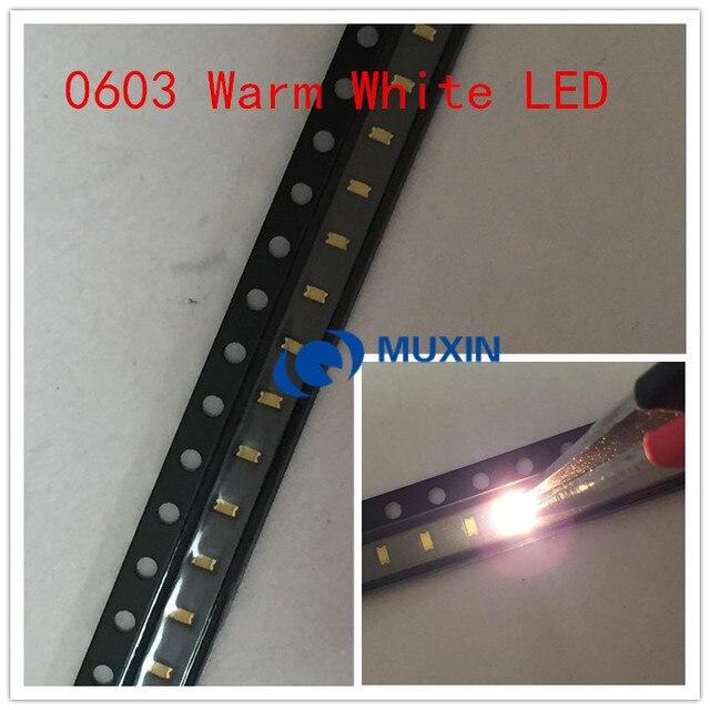 100pcs 0603 (1608) Warm White SMD SMT Bead Bulb Chip 20mA DC 3V Light Emitting Diode LED Lamp Surface Mounted Device Technology