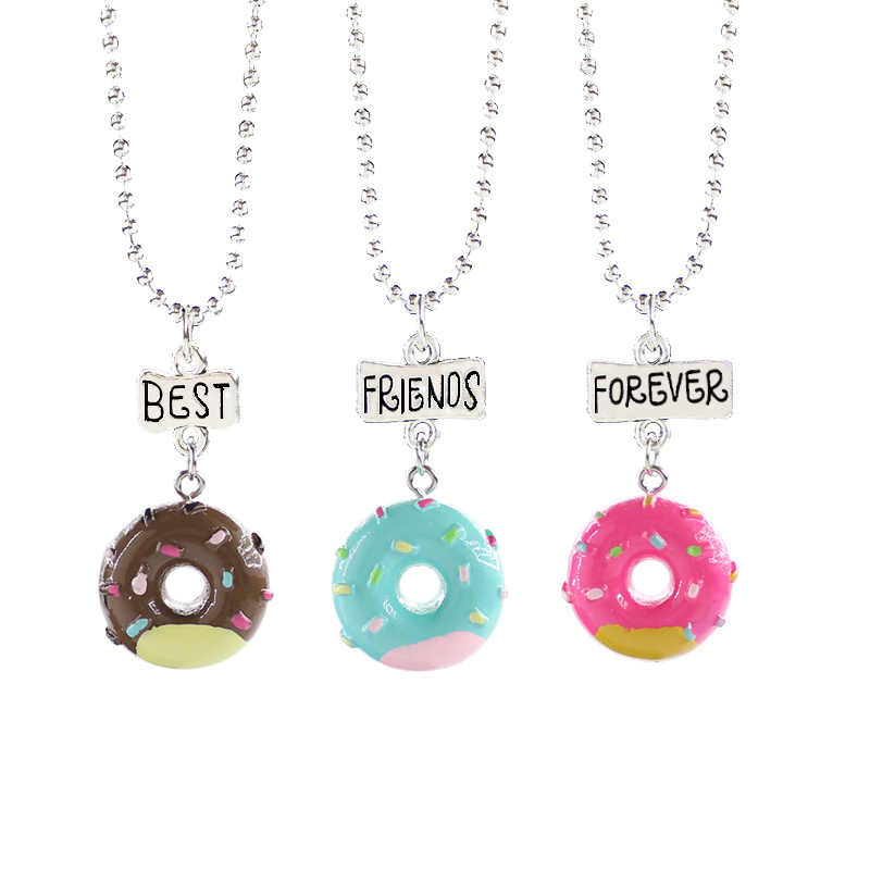 SWEBLE Cartoon Resin Donut Charm Pendant Necklace Best Friend Friendshipe Choker Fashion Accessories Kid Birthday Gift