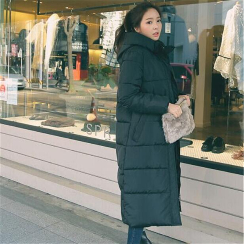 Black Hooded Cotton Padded Thick Loose Long Winter Coat Women Elegant Warm Large Size   Parka   Fashion Casual Winter Jacket TT3333