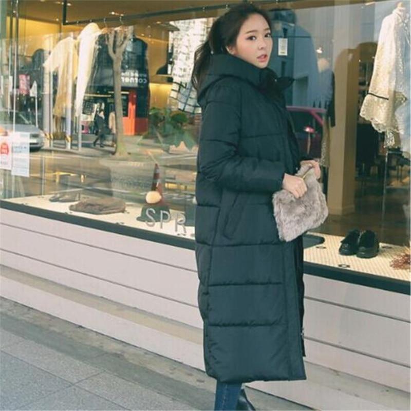 Black Hooded Cotton Padded Thick Loose Long Winter Coat Women Elegant Warm Large Size   Parka   Fashion Casual Winter Jacket TT3333