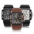 Espléndida Nueva Moda de Imitación de Cuero de Lujo de Los Hombres Ray Cristal de Cuarzo Analógico Relojes Casual Reloj Fresco Hombres de la Marca de Relojes 2016