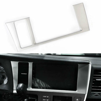 Car Console GPS Navigation Screen Panel Frame Trim Steel For Toyota SIENNA 2015-2019 image
