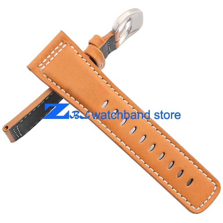 Kvaliteetne ehtne nahast käepael sile oranž rihmaga valge õmmeldud - Kellade tarvikud - Foto 3