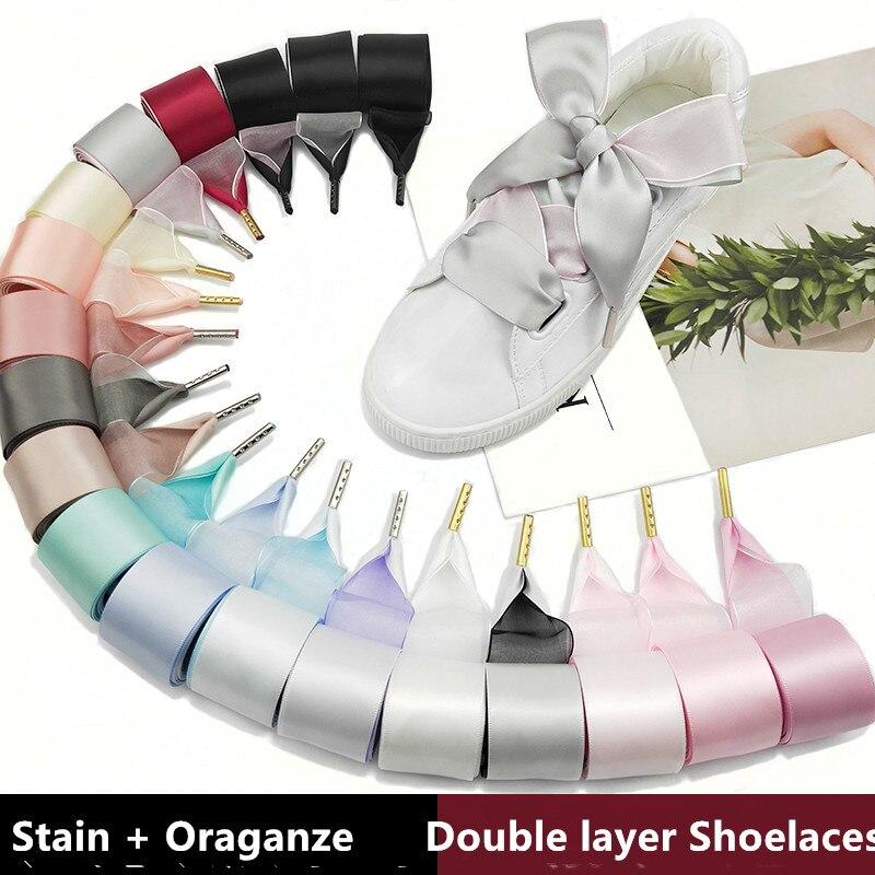 Boutique Shoelaces 19 Color 3.2 Cm Width Double Satin Organza Shoelaces Beautiful Lace Widened Leisure Sports Shoes Shoelaces