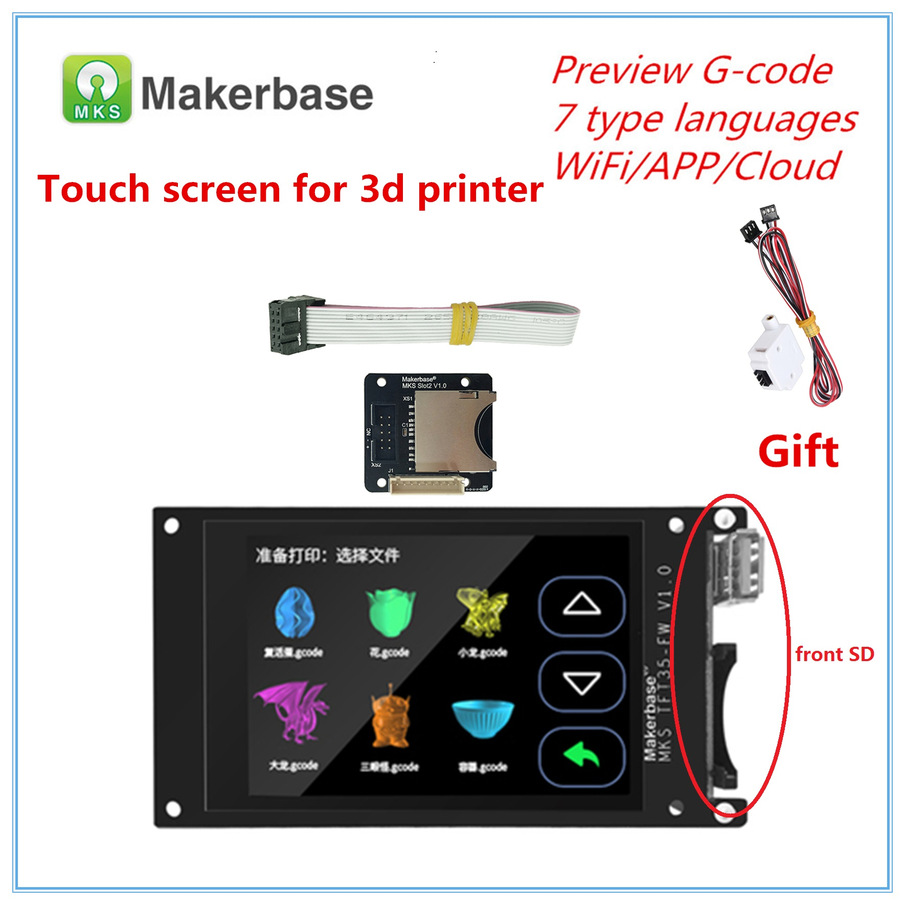 For BIGTREETECH SKR V1.3 MKS TFT35 V1.0 Display + MKS Slot2 + Filament Run Out Sensor 3.5'' TFT LCD 3d Printer Touch Screen