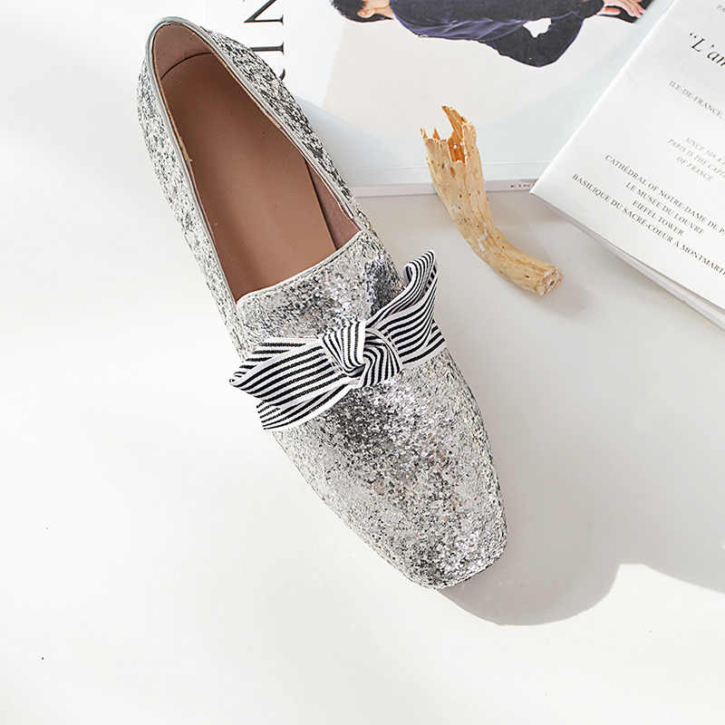 ad88175f7daf4 Chaussures femme flat shoes women loafers Sequin Silver bling bling women  casual shoes comfortable shoes women