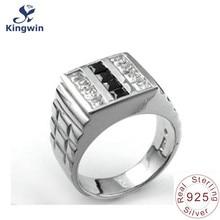 925 plata esterlina sólida de los hombres anillos de oro marca de lujo joyería fina calidad de canal con cz diamante bonito regalo