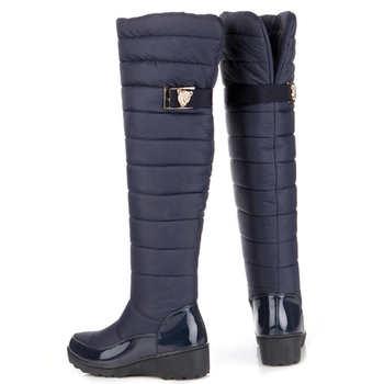 Warm Winter Women Knee High Boot Round Toe Down Fur Ladies Fashion Thigh Snow Boot Waterproof Shoe