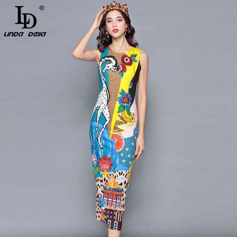 LD LINDA DELLA Fashion Runway Designer Summer Dress Women Sleeveless Tank Casual Print Sequin Midi Pencil Elegant Dress vestido in Dresses from Women 39 s Clothing