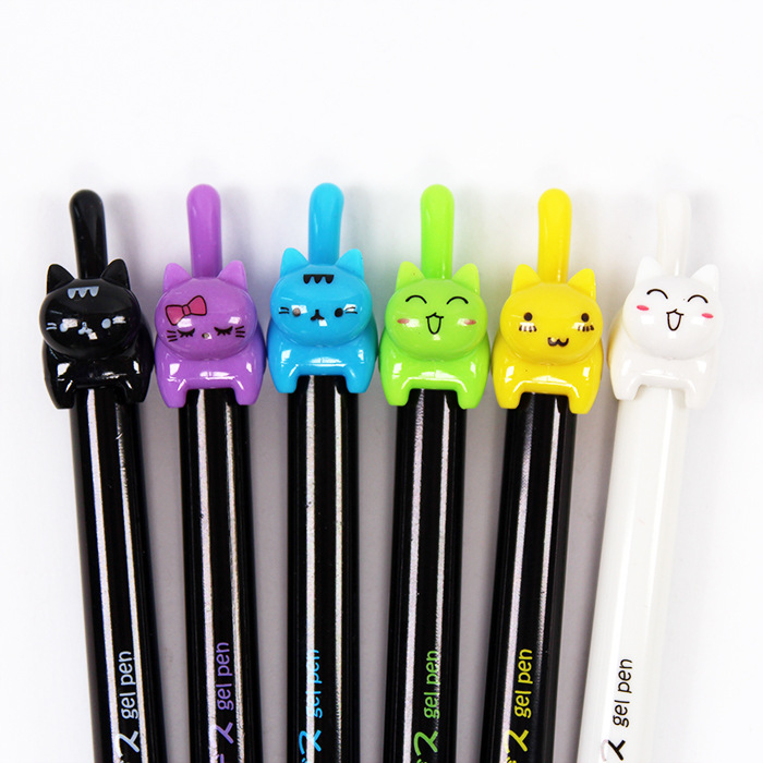 Harphia gel pen cat 8pc/lot black white colorful Cute cate Japenese 0.38mm Roller school supplies Ball point Pen smooth writing pilot dr grip pure white retractable ball point pen