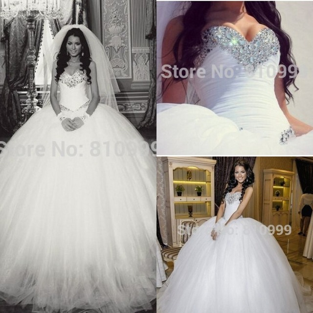 Glamorous Bling Wedding Dresses Ball Gowns Tulle Crystal Beading Sweetheart Corset Off The Shoulder Luxury Puffy