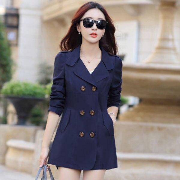 6168eded05f28 2019 nouvelle mode Printemps Automne Mince Femmes trench-coat Longue  Outwear Mince Double Boutonnage trench-coat pour manteau femmes