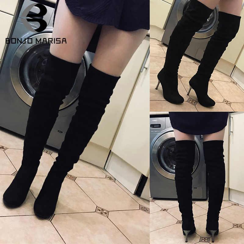 BONJOMARISA yeni diz üzerinde yüksek çizmeler kadın büyük boy 34-43 uyluk yüksek çizmeler kadın seksi yüksek ince topuk elbise ayakkabı kadın