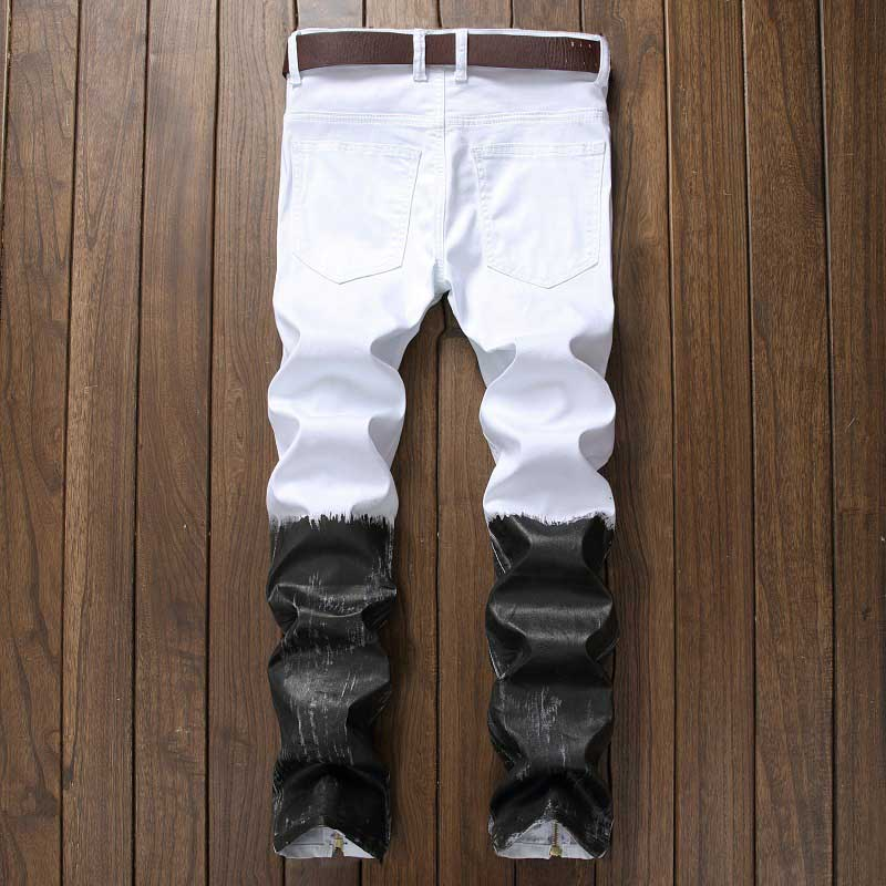 Mcikkny New Fashion Men`s Hip Hop Denim Jeans Ripped Pleated Pants For Male Ankle Zipper (4)