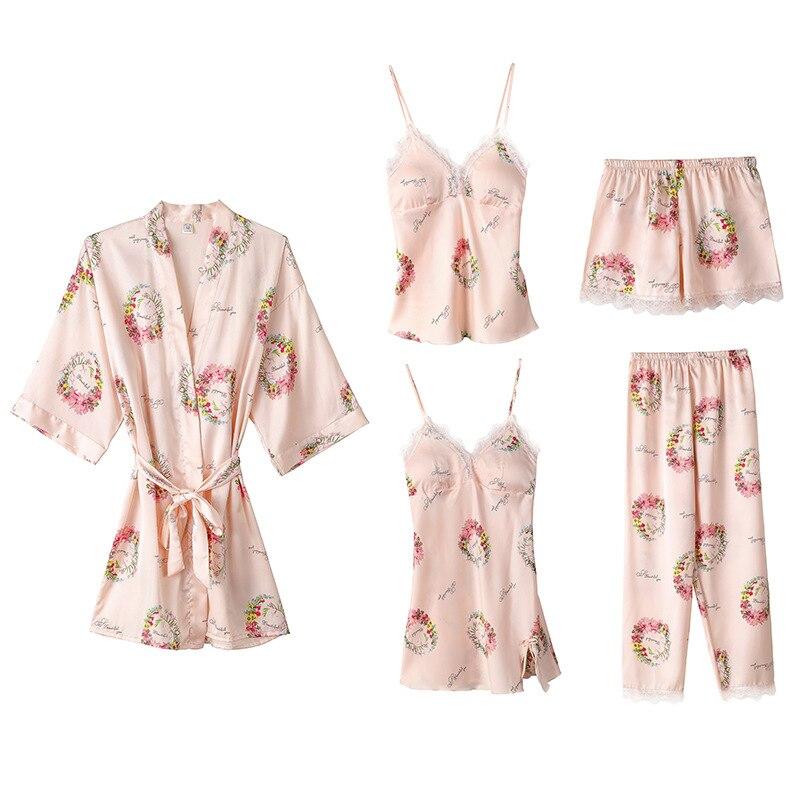 Print Women Pajamas 5 Pieces Satin Sleepwear Pijama Silk Home Wear Home Clothing Lace Tirm Lounge Pyjama with Chest Pads