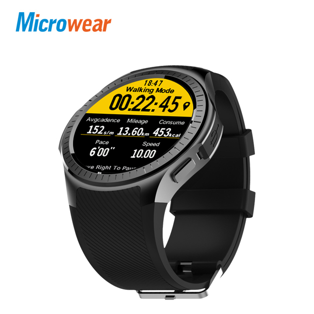 Новинка 2017 года microwear профессиональный спорт Smart Watch 4 ядра mtk2503 2 г WiFi BT вызова 0.2mp TF карты для iOS и Android