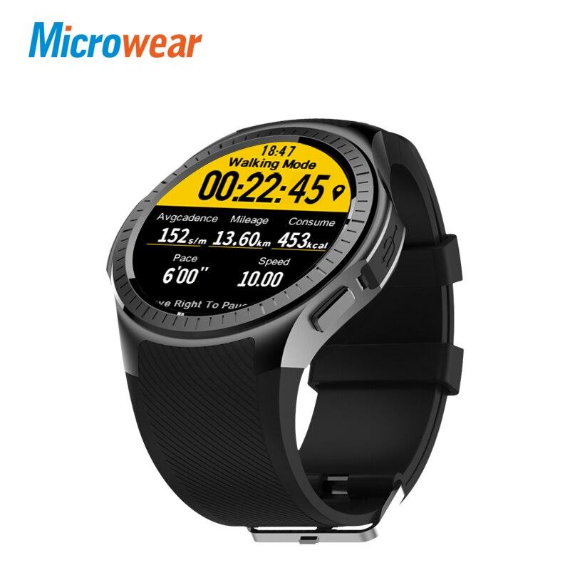 Microwear L1 профессиональные спортивные Смарт-часы 4 ядра Smartwatch MTK2503 2 г Wifi BT вызова 0.2MP TF карты для IOS и Android