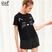 Dotfashion Cat Print Cuffed Top And Polka Dot Shorts Pajama Women Round Neck Short Sleeve Nightwear