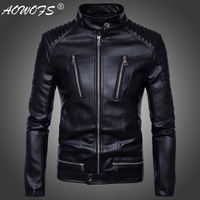 Locomotive more than men's jacket zipper leather motorcycle leather synthetic leather jacket style fashion sell like hot cakes