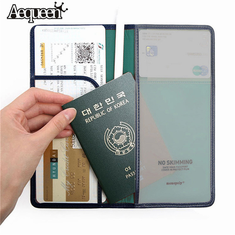 AEQUEEN alta calidad pasaporte documento de viaje bolsa PU cuero tarjeta titular de tarjetas de crédito monedero coreano pasaporte