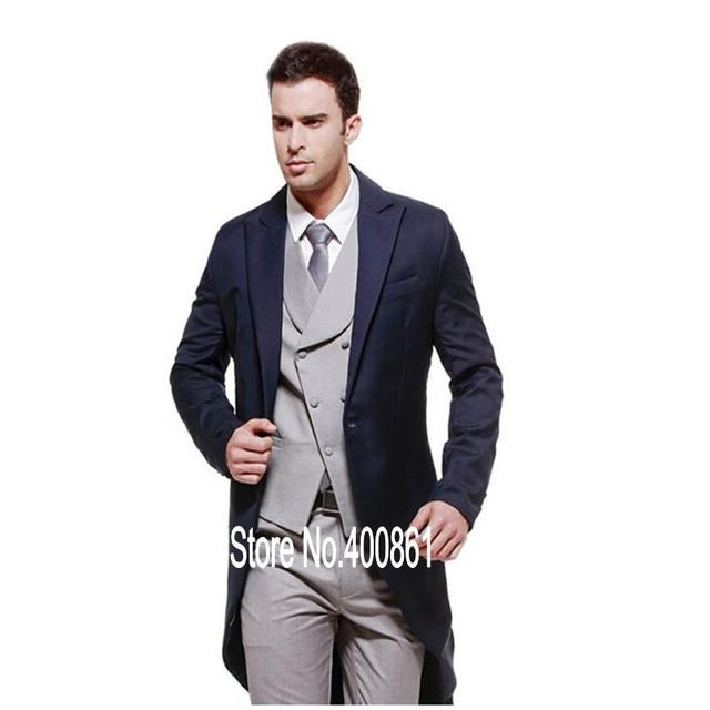 Handsome Navy Blue Mens Dinner Party Prom Suits Groom Tuxedos ...