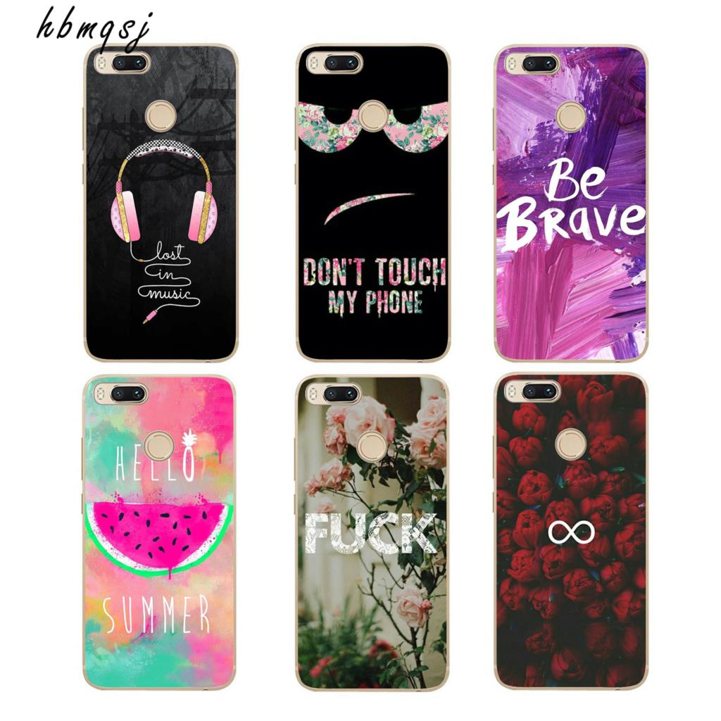 Fashion for xiaomi mi a1 5.5 inch case silicone soft cover cartoon cool painted flowers text landscape landscape phone tpu case ...