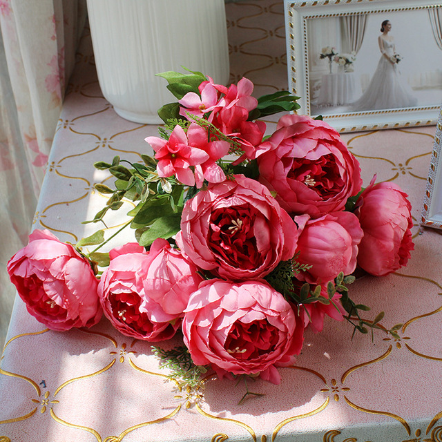13 Heads European Spring Peony Flower Silk Simulation Flowers Large ...