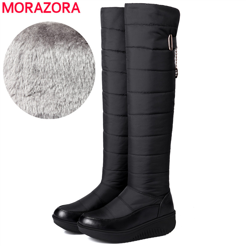 MORAZORA Winter Snow Boots Thick Fur Warm Over The Knee Boots Women Wedges Platform Boots Fashion Down Cotton Shoes Drop ShipMORAZORA Winter Snow Boots Thick Fur Warm Over The Knee Boots Women Wedges Platform Boots Fashion Down Cotton Shoes Drop Ship