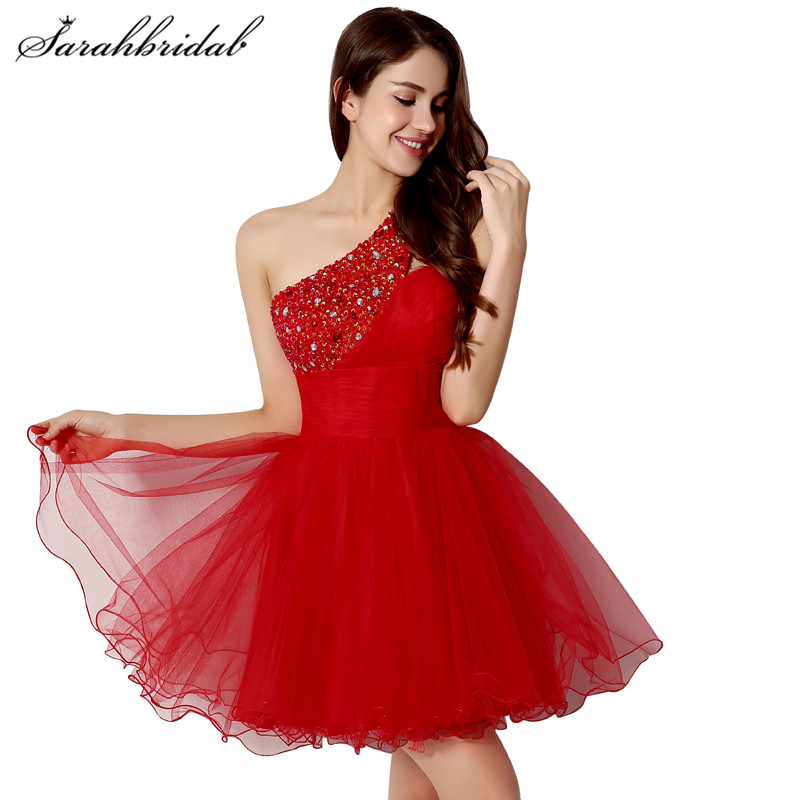 Sexy Cheap Short Prom Dresses Red One Shoulder Tulle A Line Sequins Beaded Back Lace Homecoming