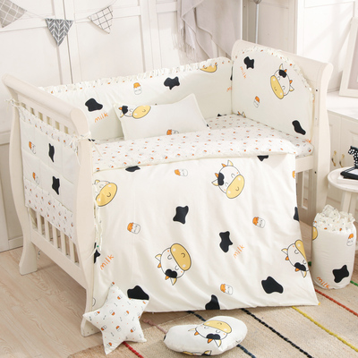 Promotion! 6/9pcs Cow Cartoon Baby Cot bedding set Bumper and Sheet Baby Sleep ed Linens In Cot Protect Bumpers whole setPromotion! 6/9pcs Cow Cartoon Baby Cot bedding set Bumper and Sheet Baby Sleep ed Linens In Cot Protect Bumpers whole set