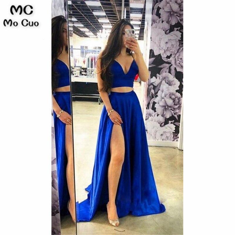 2019 Royer Blue A-line Long   Evening     Dresses   Sweet 16   Dress   School Dance   Dress   Satin Graduation   Evening   Party   Dress